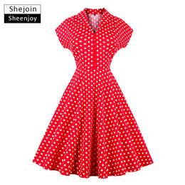 plus size audrey hepburn dress 2019 - ShejoinSheenjoy Red Retro Summer Dress Women V-Neck Short Sleeve Audrey Hepburn Vintage Dress Polka Dot Party Dresses Pl