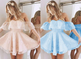 off white baby dress Australia - 2019 Light Coral Homecoming Party Dress Cheap Off the shoulder Lace Baby Blue Short Sleeves A line Prom Graduation Dress Gowns New