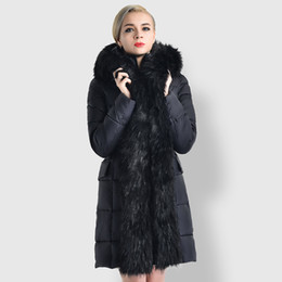 Fur trimmed winter coats online shopping - New fashion Women Winter Long style Overcoat Winter Warm Feather Cotton Fur Trim Parka With Fur Collar Thicken Coats Black Khaki Gray