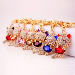 cat key jewelry 2019 - Fortune Cat Key chains Keyring Crystal Rhinestone Women Holder Bag Charm Keyring Car Keychain Ring Jewelry Wedding Favor