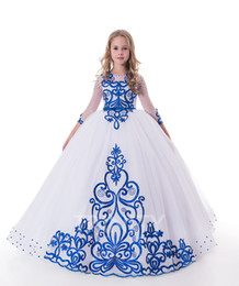 $enCountryForm.capitalKeyWord NZ - Beauty White&Royal Blue Tulle Embroidery Flower Girl Dresses Girls' Pageant Dresses Holidays Birthday Dress Skirt Custom Size 2-14 DF711365