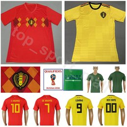 e1f08828c 2018 World Cup Soccer Belgium Jersey Men 10 Eden Hazard 7 DE BRUYNE  Football Shirt Kits 4 KOMPANY 9 LUKAKU 8 FELLAINI Custom Name Number