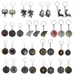 Discount wholesale game thrones gifts - RJ Game of Throne Keychains House Stark Wolf Pendants Key Chains A Song Of And Fire Targaryen  Keyring Souvenirs Gift