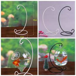glass hanging ball terrarium 2019 - Ornament Display Stand Iron Hanging Rack Holder For Hanging Glass Globe Air Plant Terrarium Witch Ball Wedding Home Deco