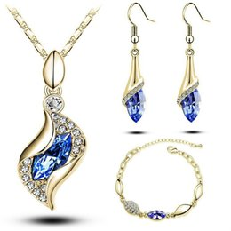 cheap indian bridal jewelry NZ - Women Crystal Necklace Bracelet Earring Jewelry Set Engagement Wedding Sets Bridal Accessory Cheap Nice Gift Wholesale Price