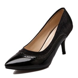 Toed Shoes For Women NZ - SJJH 2018 Woman Pumps with Pointed Toe and Stiletto Heel Working Elegant Shoes for Fashion Women with Large Size Available A064