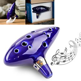 ocarina alto 2019 - Blue 12 Hole Ocarina Ceramic Alto Mid-tone Tone C Flute Musical Instrument for Music Lover Beginner discount ocarina alt