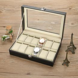 watch case storage organizer 2019 - 12 Grids PU Leather Watch Display Case Storage Box Organizer Watch Jewelry Display Box cheap watch case storage organize