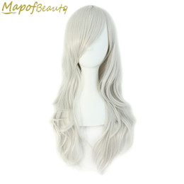 """blue synthetic curly hair 2019 - Long Curly Synthetic Hair 28"""" 15 Colors Black White Blonde Green Blue Red Cosplay Heat Resistant Ladies Party Mapof"""