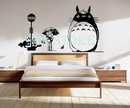 Discount anime car decal stickers - Anime Cartoon Totoro Waiting For The Car Cool Propile Wall Sticker Decal Home Decor For Anime Fans 110*78 cm