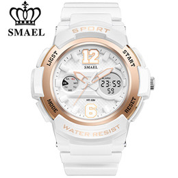 Wholesale SMAEL Watch Women brand luxury Fashion Casual Quartz Watches PU Sport Lady Dress Digital Wristwatch Girl Clock Dual Display Wristwatches