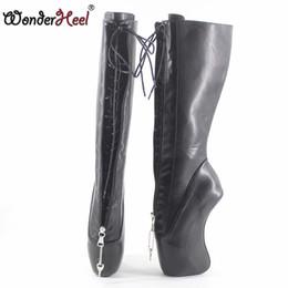 69180c84e0d Wonderheel new extreme high heel 18cm curved heel YKK locked zipper matte  black sexy fetish inner lacing knee high ballet boots