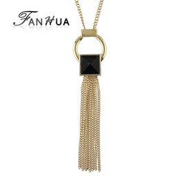 $enCountryForm.capitalKeyWord UK - FANHUA New Jewelry Gold-Color Long Chain Necklace Geometric Black Acrylic Long Tassel Necklaces & Pendants Collier Femme
