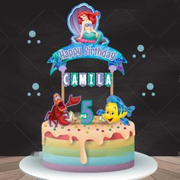 $enCountryForm.capitalKeyWord Australia - Custom Name Age   Princess Little Mermaid Party Supplies Decorations Favors Picks Kids Baby Shower Happy Birthday Cupcake Topper