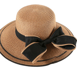 053b3895012 Lady Boater summer Sun hats Ribbon Round Flat Top Straw beach hat for women  straw hat snapback gorras Female wholesale