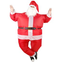 Santa Claus Suits UK - Funny Christmas Inflatable Santa Claus Costume Jumpsuit Air Fan Operated Blow Up Xmas Suit Christmas Party Fancy Dress Outfit