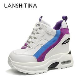 f5cace463 Мода 2019 женщины ботильоны осень платформы сапоги скрытые увеличение  кроссовки 10 см каблуки Клин женщина дышащая обувь