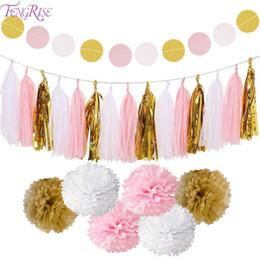 $enCountryForm.capitalKeyWord Australia - Fengrise Circle Garland Tissue Paper Pompom Wedding Decoration For Home Birthday Party Kids Favors Boy Girl Baby Shower Supplies