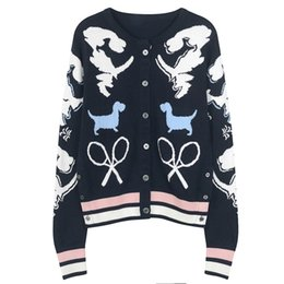 knit dog collar 2018 - 2018 new style gray  navy blue O-collar dogs jacquard print women sweater loose knitted Top long sleeves women cardigans