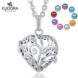 Pregnancy Chime Pendant Australia - 18mm Harmony Bola Angel Giving Tree Crystal Locket Cage Pendant Necklace With Inner Chime Ball for Pregnancy Women Jewelry