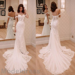 pictures wedding dresses court NZ - 2018 New Mermaid Lace Wedding Dresses Sweetheart Backless Off Shoulder Court Train Appliques Arabic Sexy Bridal Gowns Plus Size Customized