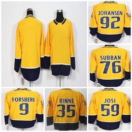74cd915af 2018 Mens Nashville Predators 9 Filip Forsberg 35 Pekka Rinne 59 Roman Josi  76 P.K. Subban 92 Ryan Johansen Blank Yellow Ice Hockey Jerseys