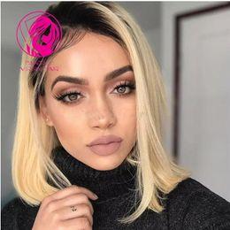 $enCountryForm.capitalKeyWord Australia - Fantasy Short Wavy Straight Brazilian Remy Human Hair Lace Front Wig Ombre Blonde 1B #613 Bob Cut Pre Plucked Lace Wig Baby Hair