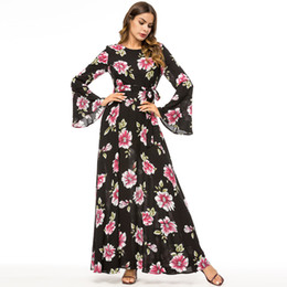 7c98fe653d 2018 NEW Ladies long Flare sleeve flower printed muslim fashion turkish Islamic  clothing for women abaya middle east party flower dress maxi