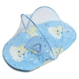 Discount toddler mosquito net - Mosquito Net Baby Pillow Mat Set Foldable Bed Crib Tent Type 0-3 Years Pink Blue Portable Baby Kids Toddler for Summer O