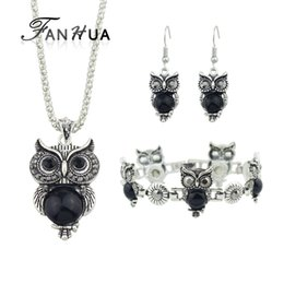 $enCountryForm.capitalKeyWord UK - FANHUA Ethnic Jewelry Sets Antique Silver Color Chain Red Black Beads Owl Pendant Necklace Owl Drop Earrings Charm Bracelet
