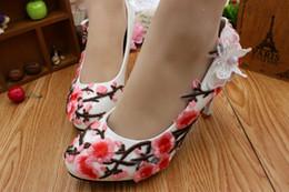$enCountryForm.capitalKeyWord Canada - Pink Plum Blossom White Bridal Shoes 8Cm High Heels Platform Ladies Shoes Woman Pump Bridal Heels Slip On Flower Shoe Heels