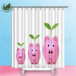 shower curtain trees NZ - Vixm There Are Small Medium And Large Pink Piggy Banks With Young Trees Shower Curtains Polyester Fabric Curtains For Home Decor