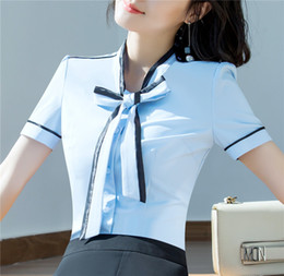 formal ladies clothes Canada - 2018 Chiffon Summer Top Women Clothing Short Sleeve Shirt OL Elegant Bowknot Formal Chiffon Blouse Office Ladies Work Wear Shirt Blouse