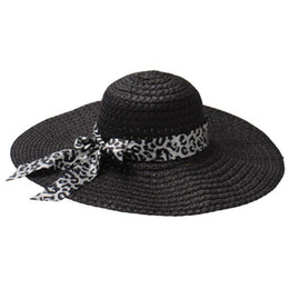 Large brim summer hats online shopping - Lady Foldable Casual Cap with bows Wide Large Brim Summer Beach Black Sun Hats