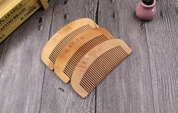 hair comb brush wooden NZ - New Wooden Comb Natural Health Peach Wood Anti-static Health Care Beard Comb Pocket Combs Hairbrush Massager Hair Styling Tool