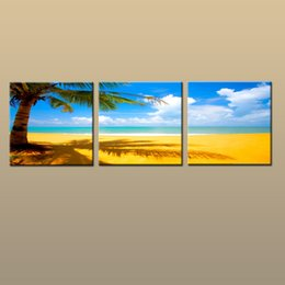 Art Canvas Prints Australia - Framed Unframed Large Contemporary Wall Art Print On Canvas Hawaii Palm Tree Beach Sunset Glow Landscape 3 pieces Picture Home Decor abc239