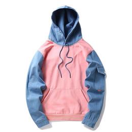Chinese  Korean Harajuku Hoodie Fleece Pink Blue Patchwork Mens Hip Hop Casual Pullover Sweatshirts Streetwear 2018 Spring Winter Hoodie manufacturers