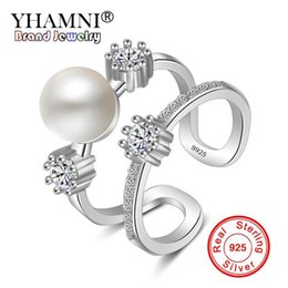 china diamond engagement ring UK - YHAMNI New Fashion Original 925 Sterling Silver Rings Natural Pearl Jewelry for Women CZ Diamond Wedding Engagement Band Pearl Rings JZ177