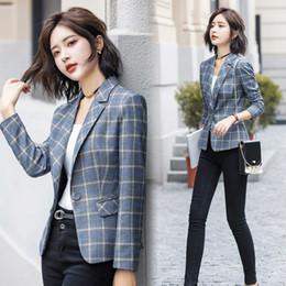 459498145d2 LANLOJER Fashion Plaid Blazer Coat Women Autumn Winter New Chic Long Sleeve  Casual Plus Size Jacket Office Laides Work Wear 889  Y18110701