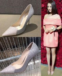 Bridesmaids slip dresses online shopping - Free Ship European Lady Faves Slim Bridesmaid Single Shoes Women High Heels Glitter Sexy Pointed Toe Club Party Pumps Color Match