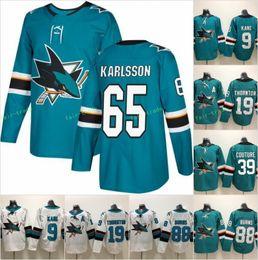 Linen goLd online shopping - 65 Erik Karlsson San Jose Sharks Evander Kane Hockey Jersey Joe Thornton Logan Couture Brent Burns White Green Stitched