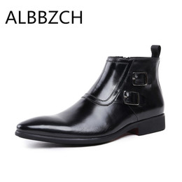 Pointed toe genuine leather men boots fashion buckle mens black business  dress work ankle boots spring autumn wedding men shoes c288870bfe5b