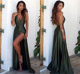 China Dark Green Mermaid Prom Dresses Long 2018 Sexy Deep V Neck High Side Split Floor Length Formal Dresses Dresses Evening Wear Simple BA6335 cheap simple silk long prom dresses suppliers