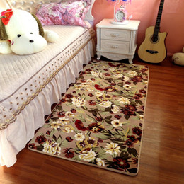 living room floor mats floral NZ - Entrance Bedroom Carpet Bedside Rectangular Tatami Carpet Room Long Lovely Living Room Floor Mat Tea Table Windows Decoration Doormat Rugs