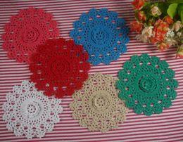 $enCountryForm.capitalKeyWord Australia - 15pieces-Per design 5 PCS 3 size Handmade Crocheted Doilies Vintage Placemats, 10cm 15cm 20cm cup mat mug pad, Color Custom
