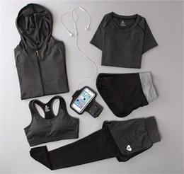 Yoga Pants Sports Bra Canada - Women Yoga Suit Outfit Fitness Clothes Running Outdoor Jogging Clothing Gym Sport 5 PCs Set Bra+T-shirt +Jacket+short+Pant