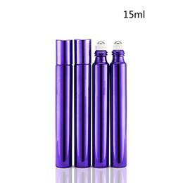 Roller Perfume Bottles 15ml UK - 15ml Glass Roll On Bottle Empty Essential Oil Perfume Rollon Tube Metal Roller Ball Bottle For Travel