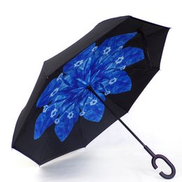 China Ceiourich Blue Flower Long Umbrellas Double Layer Inverted Car Reverse Umbrellas Rainy with C-shaped Handle Reverse Umbrella-001 supplier green car shape suppliers