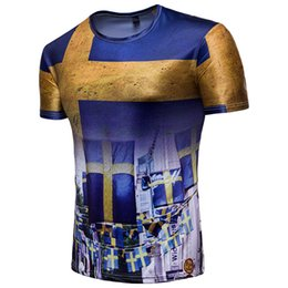 China Men's clothing Viking Swedish fans print short-sleeved street dress casual T-shirt 2018 Russia World Cup blouse half sleeve cheap fan print dress suppliers
