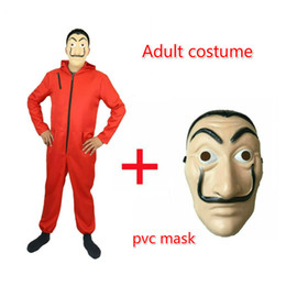 Wholesale Salvador Dali Movie Costume Money Heist The House of Paper La Casa De Papel Cosplay Halloween Party Costumes with Face Mask